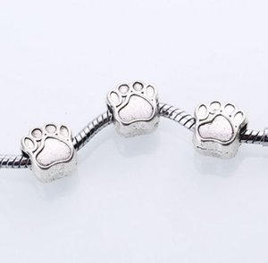 Wholesale 100PCS Antique Silver Bear alloy paw print Charms spacer Beads For Jewelry Making x8mm hole mm
