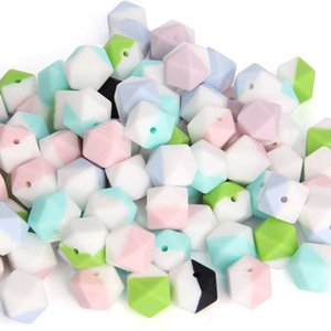 Fashion Silicone Teething Beads Double Color Hexagon 17MM BPA Free Silicone Loose Beads for Jewelry DIY Necklace Chewable Sensory Beads