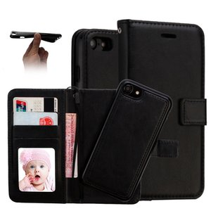 Wholesale 2 in Wallet Leather Case Magnet Removable Retro Cases Card Slots Pockets Cover For iPhone X plus Samsung note s9 s9 plus