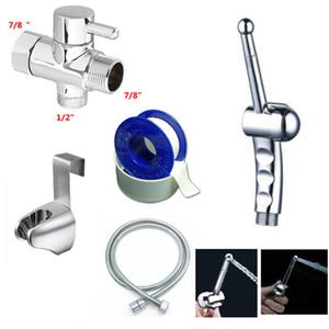 """Chrome 7 8""""Brass T-adapter Handheld Bidet Douche Toilet Shattaf Kit Sprayer Hange holder set with shower hose"""