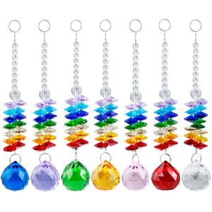 5PCS Chakra Glass Crystal Suncatcher 30mm Crystal Ball Prism Rainbow Octogon Beads Hanging Christmas Ornament W025-30mm