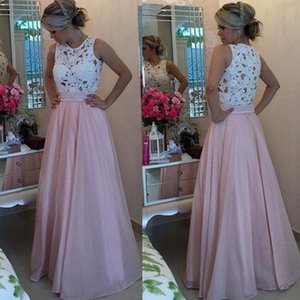 Wholesale 2017 New A Line Formal Evening Dresses O Neck Sleeveless With Zip Back Applique Chiffon Long Floor-Length Prom Gowns
