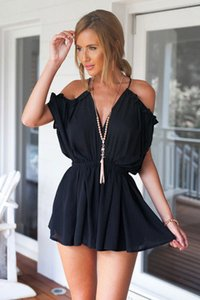 Wholesale 2017 Women Jumpsuit Sexy Striped Deep V Collar Short Sleeved Female Short Summer Jumpsuit Romper Casual Shorts Strap Waist