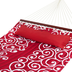 Wholesale Quilted Fabric Double Hammock W Wood Spreader Bar Red W White Accents