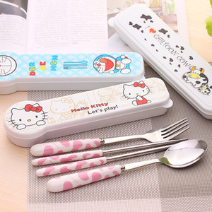 Wholesale DHL cartoon stainless steel travel tableware set hello kitty cow chopsticks spoon fork portable three piece ceramic kids children dinnerware