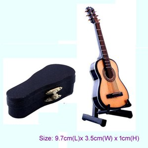 Wholesale 1 scale Acoustic Musical Instrument Dollhouse Miniature Furniture Music room Mini Folk Guitar Music Figure toy with Case Support