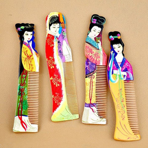1Set 4pcs Chinese Stylish Hand Painted Classic Traditional Beauty Wooden Comb