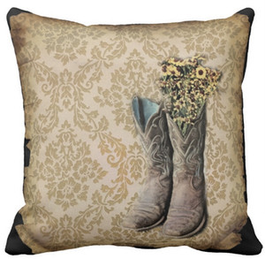 "Throw Pillow Case, Damask wildflower Western country cowboy boots Square Sofa Cushions Cover, ""16inch 18inch 20inch"", Pack of X"