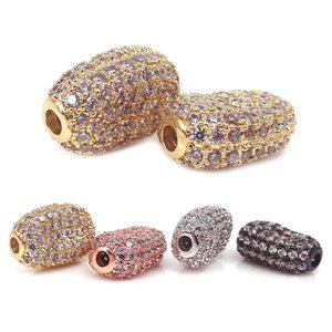 Wholesale Mixed Color Real Gold plated micro pave Clear CZ crystal chunky beads Broad Bean Shaped beads for Pearl GemStone Bracelet jewelry making