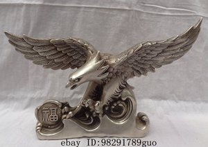 Wholesale 13 quot Chinese Silver Bird Sculpture Fu Fly Eagle Hawk Bronze King Of Birds Statue