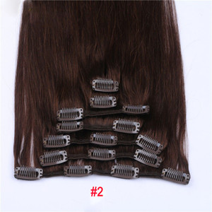 "Wholesale Remy Human Hair 15"" 18"" 20"" 22"" Clip hair extension Black Brown Blonde optional 70g 100g Indian hair Natural Color Good Quality Dark Color"