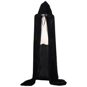 Wholesale Adult Witch Long Halloween Cloaks Hood and Capes Halloween Costumes for Women Men Cosplay Costumes Velvet Cosplay Clothing