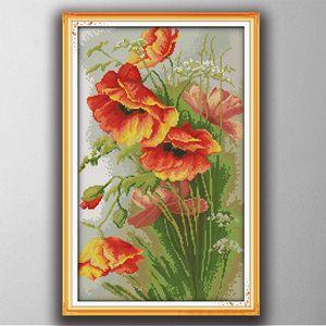 Beautiful flower Poppy Cartoon decor paintings , Handmade Cross Stitch Embroidery Needlework sets counted print on canvas DMC 14CT  11CT