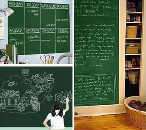 Home Stick Blackboard Wall Sticker Chalkboard Decal Peel & Stick on wall paper Black color Size:45x200cm in stock on Sale