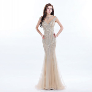 Gorgeous V-Neck Mermaid Evening Dresses Tulle Sheer With Beading Necklace Off-Shoulder Prom Gown Floor Length See Through Back Party Dress on Sale