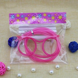 Wholesale Funny Soft Glasses Straw Unique Flexible Drinking Tube Kids Party Accessories Colorful Plastic Drinking Straws WA0816