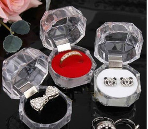 Wholesale Jewelry Package Boxes Ring Holder Earring Display Box Acrylic Transparent Wedding Packaging Storage Box Cases v0262