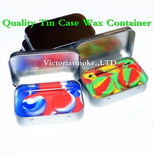 Wholesale DHL Free in Metal Tin Silicone Storage Kit Set with ml Silicon Wax Container Oil Jar Base Silver Dab Dabber Tool Metal Case