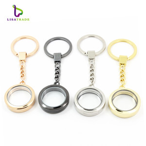 30mm Round magnetic glass locket keychains floating charm locket keychain 4 Colors can choose Zinc Alloy LSFK02