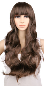 Wholesale Women Ladies Long Curly Cosplay Natrual Black Light Brown Dark Brown Cm Synthetic Hair Wigs