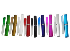 "Wholesale Crystal Glass Nail File with a HARD CASE 3 1 2"" Your Choice of Colors FREE SHIPPING#NF009"