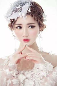 Wholesale church jewelry resale online - New white pearl handmade hats bridal wedding hats headdress banquet hair accessories bridal jewelry for church wedding
