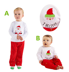 Wholesale Christmas Outfit Cute Santa Tops Pants Kid Suit Baby boy girl clothes cotton children clothes Xmas Winter Toddler Cotton Pajamas Y