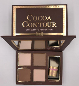 Wholesale cocoa powders resale online - COCOA Contour Kit Highlighters Palette Nude Color Cosmetics Face Concealer Makeup Chocolate Eyeshadow with Contour Buki Brush