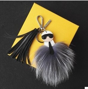 Wholesale New Hot RACCOON LEATHER FOX FUR PENDANT KEY CHAIN Women Men Bag Handbag Pendant CM