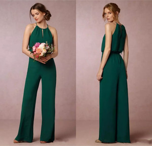 Wholesale Cheap Dark Green Flow Chiffon Bridesmaid Dresses Elegant Empire Waist Pant Suit Maid of Honor Gowns Wedding Guest Dress