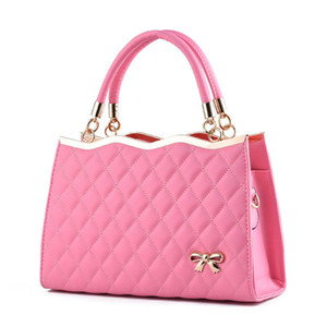 Wholesale Europe women leather handbags PU handbag leather women bag patent handbag bowknot gentlewoman variety of colors are optional