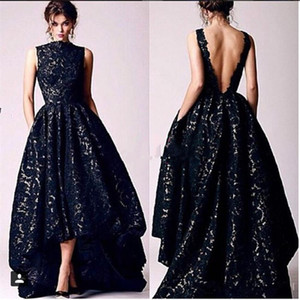 Wholesale silver backless prom dress for sale - Group buy Arabic Hi Lo Black Lace Evening Dresses Vintage Occasion High Neck Backless Formal Prom Party Gowns