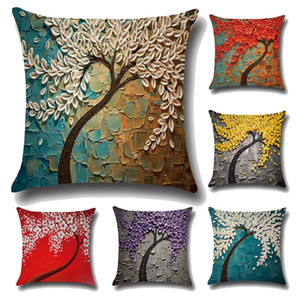 Three - dimensional painting pillowcase tree flowers cotton and linen cushions car waist cushion sets Decorative Pillow IC593