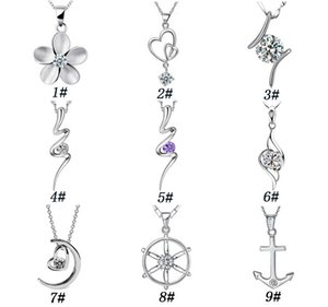 Wholesale 2017 Beautiful heart and Moon Pendants Crystal flowers silver plated women charms Necklace Elegant Fashion Pendant Jewelry