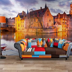 Wholesale retro modern home decor for sale - Group buy custom photo wall murals living room sofa bedroom backsplash modern home decor water city retro building city wood wallpaper d