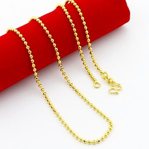 Wholesale 24 k gold resale online - 24 k gold plated classic necklace fashion jewelry New round bead chain of gold plating k gold necklace