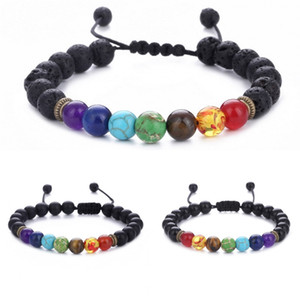 Wholesale 7 Chakra Bracelet Men Women Black Lava Healing Balance Reiki Prayer Natural Stone Beads Yoga Strand Aroma Bracelets Adjustable Rope B739S