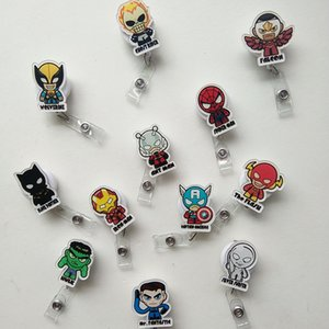 Wholesale 12pcs Batman Captain American Cartoon Retractable Lanyard ID Card Badge Holder Reels with Clip Keep ID Key Cell phone Safe