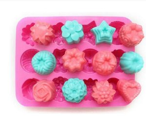 Valentine' Factory Flower Shape Muffin Case Candy Jelly Ice Cake Silicone Mould Mold Baking Pan Tray 21.4*16*2.5CM Silicone