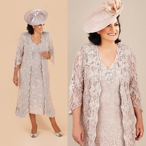 2019 Plus Size Mother Of The Bride Dresses With Long Jacket Lace Knee Length Long Sleeve Ann Balon Mother Of The Bride