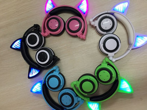 Wholesale Hot Sell Foldable Glow In Dark Cute Cat Ear Headphones Cheap Gaming Headset LED Light Earphone For PC Laptop Computer Cell Mobile Phone