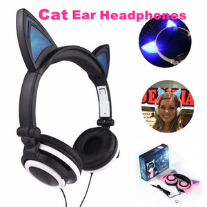Wholesale Fashion Cat ear headphones Foldable Flashing Glowing Gaming Headset Earphone with LED light For PC Laptop Computer Mobile Phone