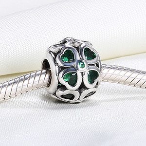 Wholesale pandora leaf clover resale online - Real Sterling Silver Not Plated Four Leaf Clover European Charms Beads Fit Pandora Snake Chain Bracelet DIY Jewelry