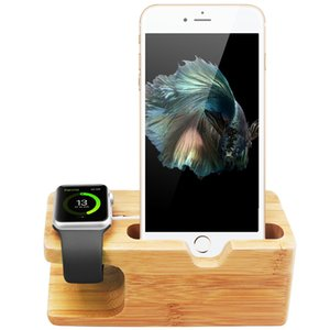Wholesale Newest Charging Platform for Apple Watch Stand Station for Apple Watch For iPhone Bamboo Wood cell Phone Holder Stand with box