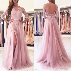 Wholesale 2017 Pink A Line Sheer Neck Applique Tulle Side Split Evening Dress Sexy Backless 3 4 Long Sleeve Prom Party Gown Formal Wear
