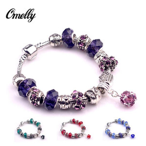 Wholesale Hot Sale Silver Plated Glass Beads Rhinestone Beads Fit Crown Bracelet Red Blue Purple Green Colors