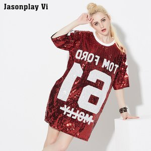 Wholesale Jasonplay Vi Korean style Sexy Loose Hip hop T Shirts Summer Sequined Dress Women Casual Long Design Tops harajuku Tees