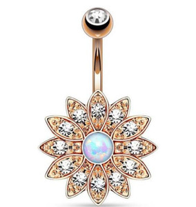 Wholesale bell flowers for sale - Group buy Good quality Exquisite flower gem diamond navel bell button rings gilding the body of popular piercing jewelry three colors