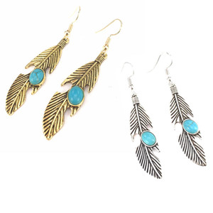Wholesale Pairs Bead Retro Gold Silver Metal Feather Shape Dangle Earring Drop Earrings For Gift Jewelry