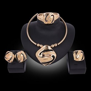 Wholesale Europe America Hot Exaggerated Square S Shape K Gold Plated Torque Necklace Earrings Bracelet Ring Jewelry Set